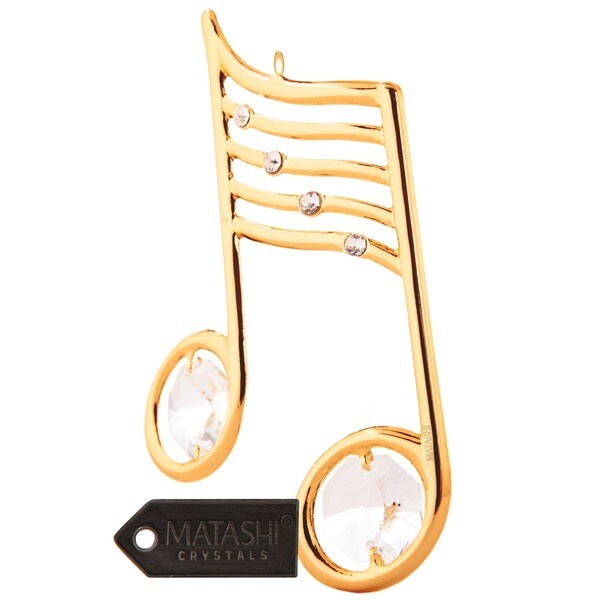 Matashi Goldplated Genuine Crystals Musical Note Ornament