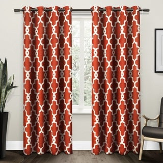 ATI Home Ironwork Sateen Woven Blackout Grommet Top Curtain Panel Pair