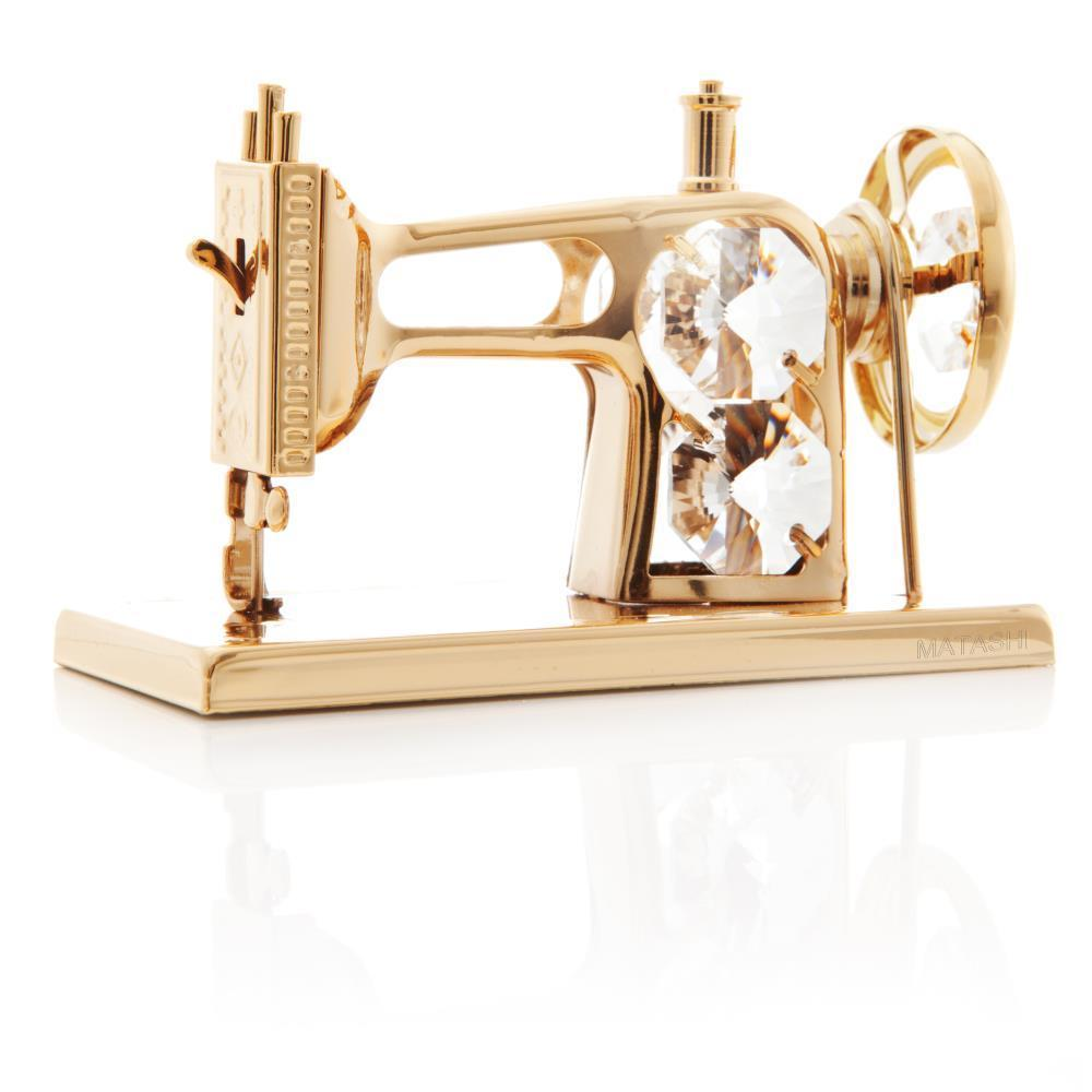 Matashi 24k Goldplated Genuine Crystals Sewing Machine Or...