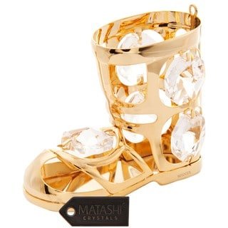 Matashi 24k Goldplated Genuine Crystals Snow Boot Ornament