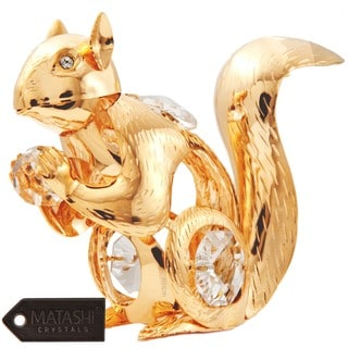 Matashi 24k Goldplated Genuine Crystals Squirrel Holding a Crystal Ball Ornament
