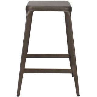 Adeco Metal Stackable Tolix Style Square Top Backless Bar Stools (Set of 2)