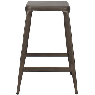 Adeco Metal Stackable Square Top Backless Bar Stools (Set of 2)