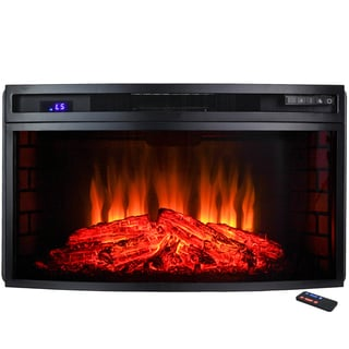 AKDY 33-inch 6 Setting Freestanding 1500W Temperature Control LED Backlit Electric Fireplace Stove Heater