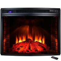 AKDY 33-inch Freestanding Tempered Glass 6 Setting LED Backlit Adjustable 1500W Electric Fireplace - 33 inch