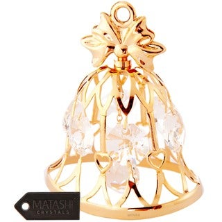 Matashi 24k Goldplated Genuine Crystals Wedding Bell Ornament