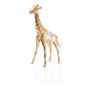 Matashi 24k Goldplated Genuine Crystals Highly Polished Mini Giraffe Ornament