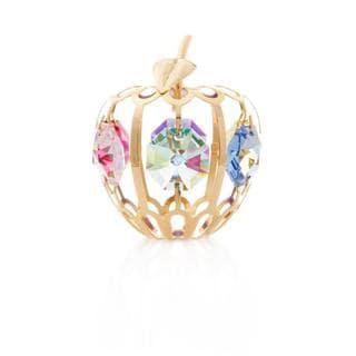 Matashi 24k Goldplated Genuine Crystals Mini Apple Ornament