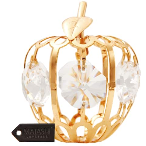 24K Gold Plated Crystal Studded Mini Apple Ornament with Clear Crystals by Matashi
