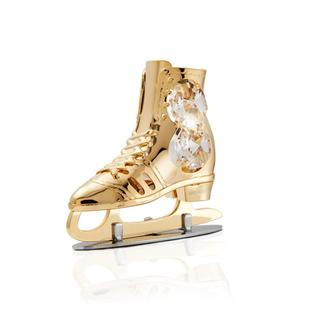 Matashi 24k Goldplated Genuine Crystals Ice Skate Ornament