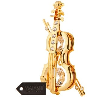 Matashi 24k Goldplated Genuine Crystals Highly Polished Violin Ornament