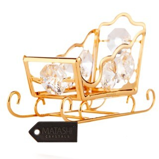 Matashi 24k Goldplated Genuine Crystals Highly Polished Sleigh Ornament