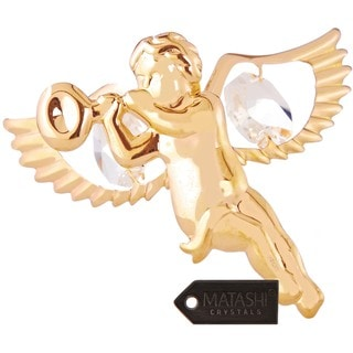 Matashi 24k Goldplated Genuine Crystals Highly Polished Mini Cherub Ornament