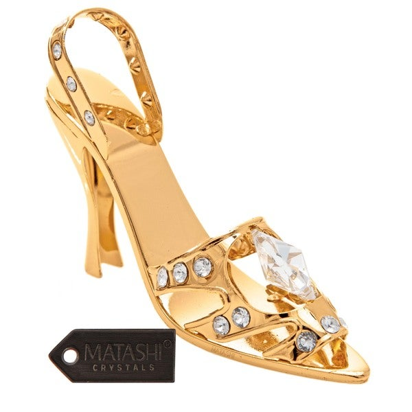 Matashi Goldplated Genuine Crystals Highly Polished Lady Shoe Ornament