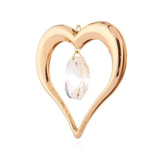 Matashi 24k Goldplated Genuine Crystals Highly Polished Heart Ornament