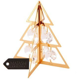 24K Gold Plated Crystal Studded Christmas Tree Ornament Hanging Ornament by Matashi