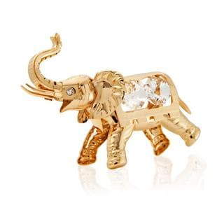 Matashi 24k Goldplated Genuine Crystals Highly Polished Beautiful Detailed Elephant Ornament