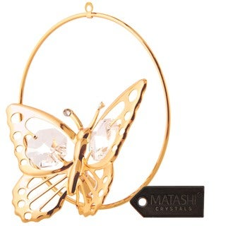 Matashi 24k Goldplated Crystal Butterfly Ornament