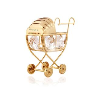 24K Gold Plated Baby Bassinet Stroller Ornament Made w/ Genuine Matashi Crystals