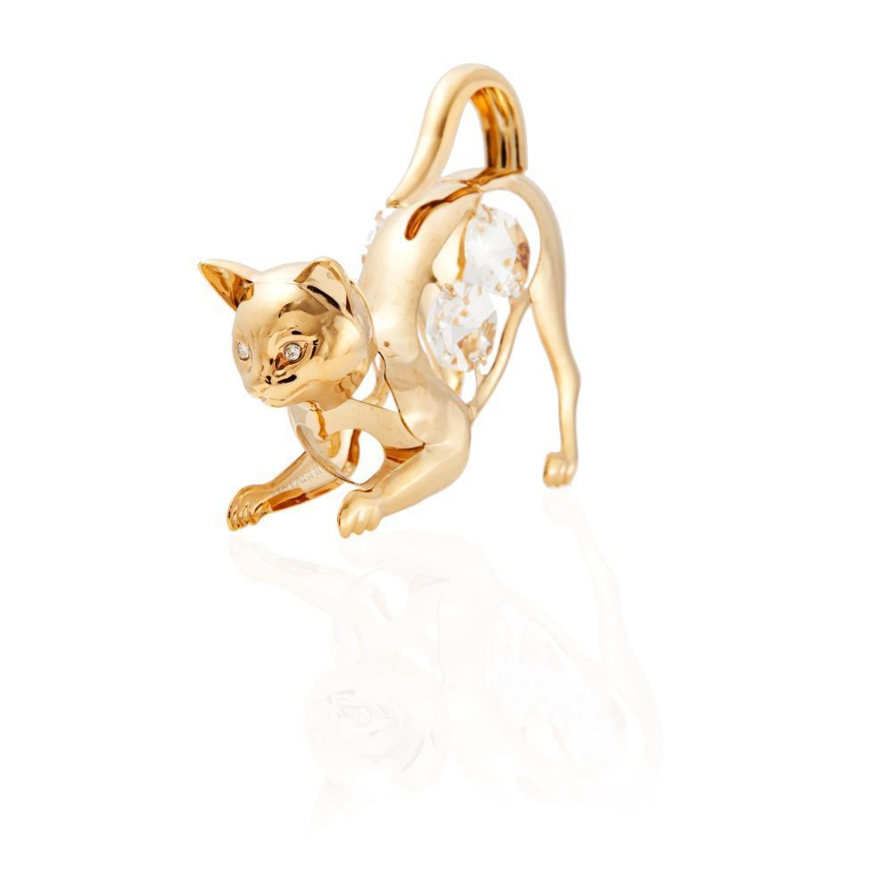Matashi 24k Goldplated Genuine Crystals 'Purrrrrfect' Cat on the Prowl Ornament