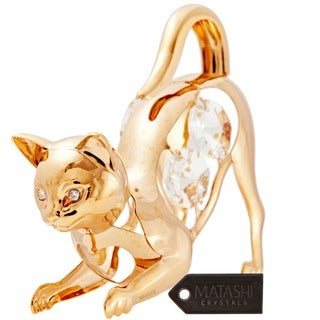 Matashi Goldplated Genuine Crystals 'Purrrrrfect' Cat on the Prowl Ornament