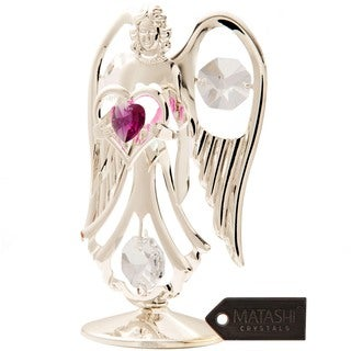 Silverplated Genuine Crystals Angel Figureine