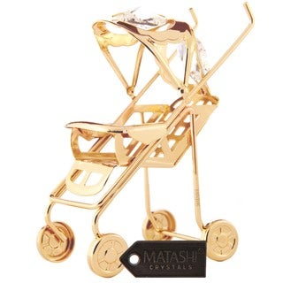 Matashi Goldplated Genuine Crystals Baby Stroller Ornament
