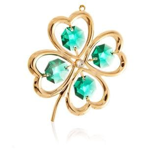 Matashi 24k Goldplated Genuine Green and White Crystals Beautiful Shamrock Ornament