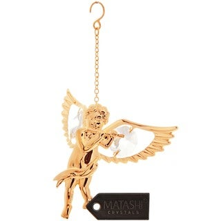 Matashi 24k Goldplated Genuine Crystals Angel Playing the Flute Ornament