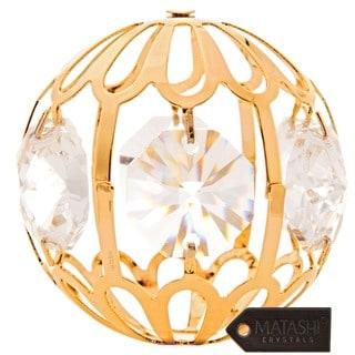 Matashi 24k Goldplated Genuine Crystals Beautiful Crystal Ball Ornament