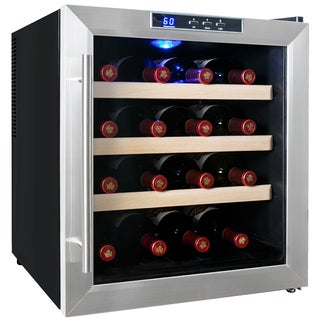 AKDY 16 Bottles Refrigerator Thermoelectric Single Zone Freestanding Stainless Steel Wine Cooler Cellar