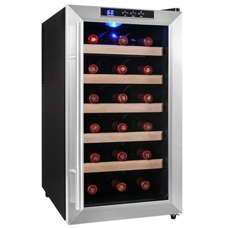 AKDY 18 Bottles Freestanding Double Paned Glass Single Zone Stainless Steel Thermoelectric Wine Cooler Chiller Cellar