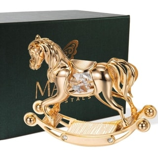 Matashi 24k Goldplated Genuine Crystals Beautiful Rocking Horse Ornament