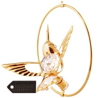 Matashi 24k Goldplated Genuine Crystals Bee Hummingbird Ornament