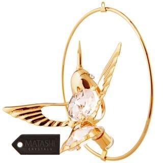 24K Gold Plated Hanging Hoop Pendant with Crystal Studded Hummingbird Figurine by Matashi