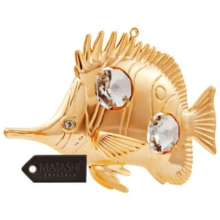 Matashi 24k Goldplated Genuine Crystals Butterfly Fish Ornament