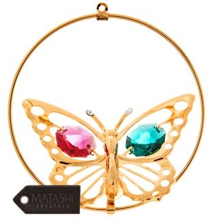 Matashi 24k Goldplated Genuine Crystals Butterfly Ornament