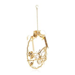 Matashi 24k Goldplated Genuine Crystals Butterfly Vine Wreath Ornament