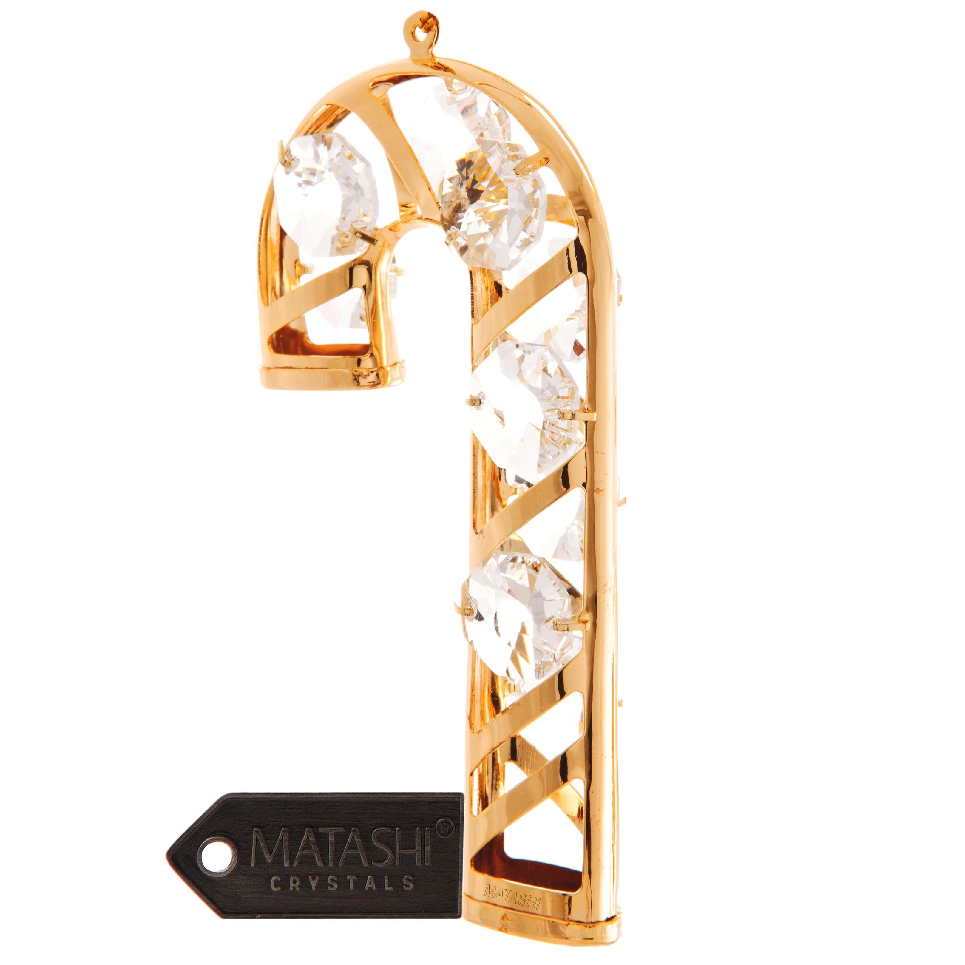 Matashi 24k Goldplated Genuine Crystals Candy Cane Orname...