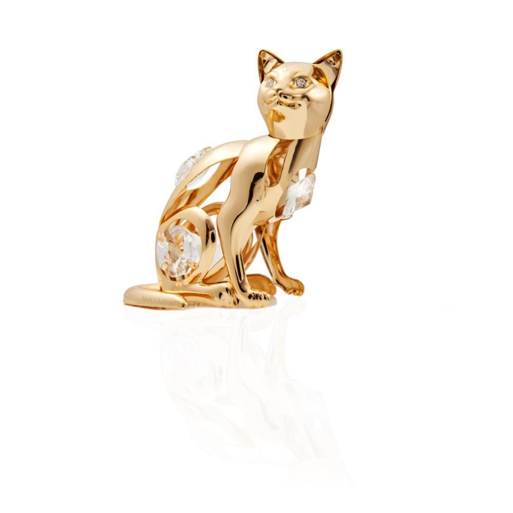 Matashi 24k Goldplated Genuine Crystals Cat Ornament