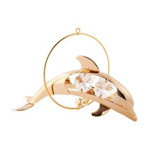 Matashi 24k Goldplated Genuine Crystals Dolphin In a Ring Ornament
