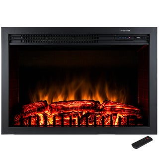 AKDY 30-inch Freestanding 1500W Tempered Glass Adjustable Control Electric Fireplace Heater Remote