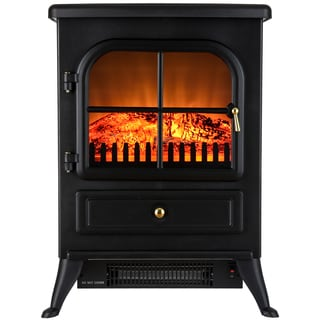 AKDY 15-inch Freestanding Adjustable 1500W 2 Setting 5200BTU Adjustable Tempered Glass Electric Fireplace Heater Stove