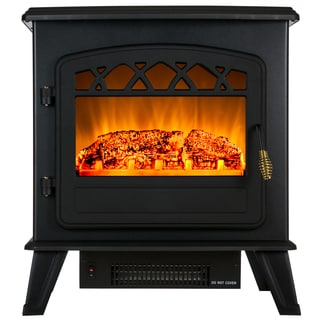 AKDY 20-inch Freestanding 1500W Adjustable 5200 BTU 2 Setting Tempered Glass Electric Fireplace Heater
