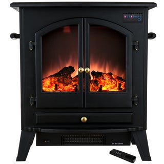 AKDY 25-inch Freestanding Adjustable 1500W 5200 BTU Tempered Glass Insert Electric Fireplace Stove