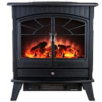 AKDY FP0033 23-inch Black Freestanding Adjustable 1500W 5200 BTU Tempered Glass Portable Electric Fireplace Stove Heater