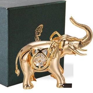 Matashi 24k Goldplated Genuine Crystals Elephant Ornament