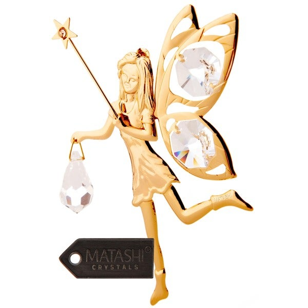 24 K Gold Plated Fairy With Wand Ornament Made With Genuine Matashi Crystals by Matashi