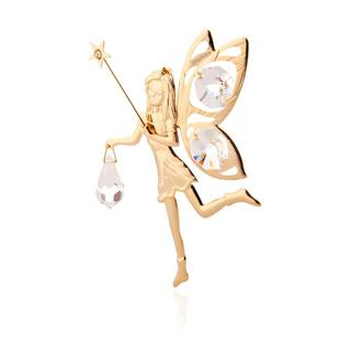 24K Gold Plated Fairy with Wand Ornament Made with Genuine Matashi Crystals