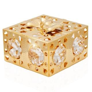 Matashi 24k Goldplated Genuine Crystals Gift Box with Bow Ornament